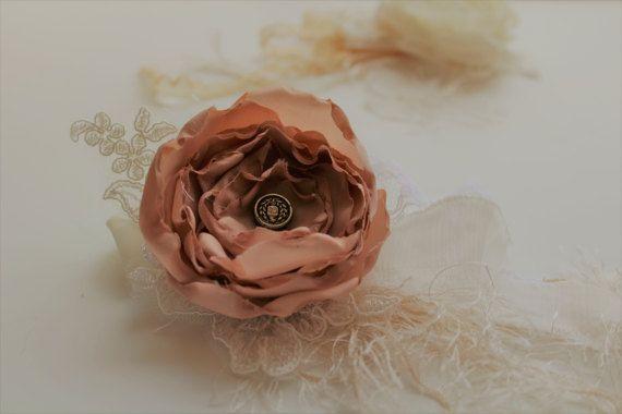 Fabric Flower Wristlett Smokey RoseVintage by onebrassbutton