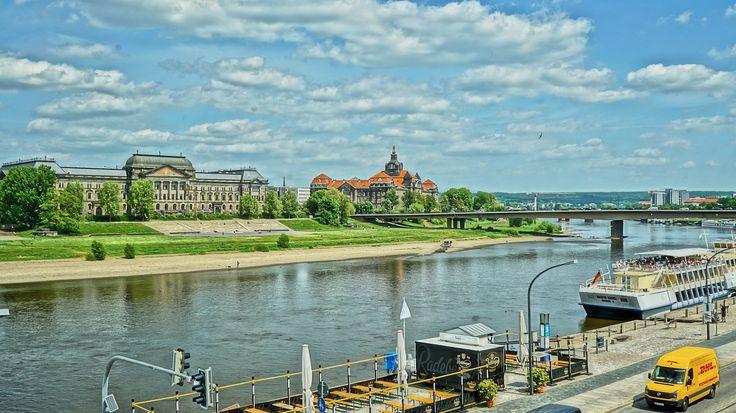 Elbe, Dresden, Schiff, Raddampfer, Stadt, Altstadt