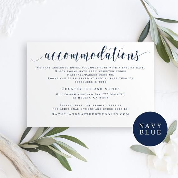 Accommodation Card Instant Download Navy Wedding Invitation Accommoda Wedding Invitation Enclosure Cards Wedding Invitation Enclosures Navy Wedding Invitations