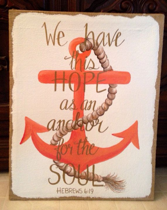 Anchor for the Soul burlap canvas painting by GenaONealDesigns