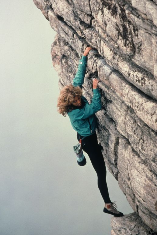"Lynn Hill on the hyper Gunks classic High Exposure (5.6) first established in 1941. ""High E"", as it is often called, is known as one of the best routes of it's grade in the world.  From the Rock and Snow BLOG-I LOVE THIS CLIMB!"