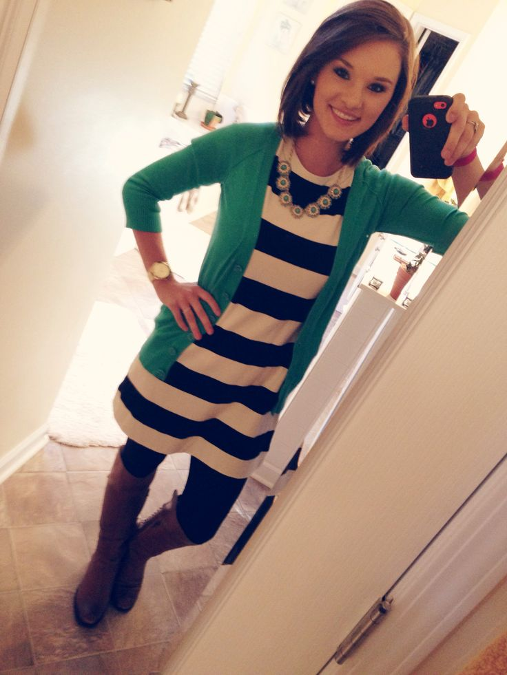 Black and white striped dress, emerald cardi, black leggings/tights, brown boots