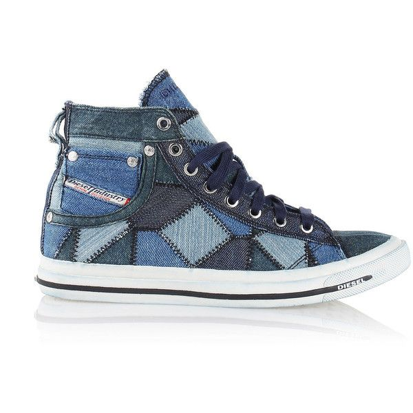 Diesel EXPOSURE IV W Casual Shoes ($150) ❤ liked on Polyvore featuring shoes, sneakers, blue jeans, casual shoes, women, blue high tops, diesel shoes, lace up high top sneakers, hi tops and laced sneakers