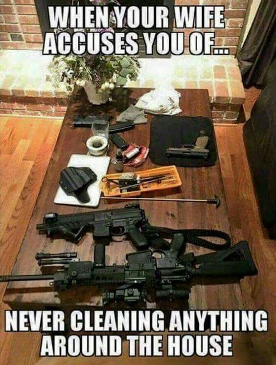 As a single female, my guns get cleaned way more than anything else in my house.