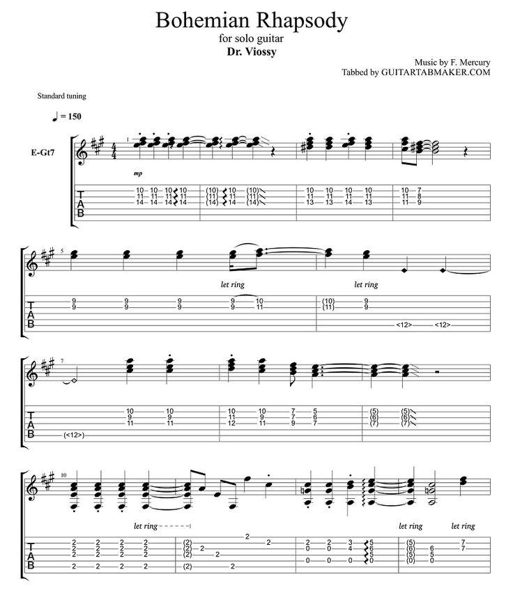 Bohemian Rhapsody fingerstyle guitar tab - pdf guitar sheet music - guitar pro tab download