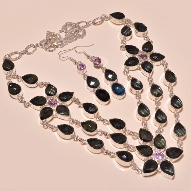 DAILY DEALS-WONDERFUL-KYANITE-ROSE QUARTZ-MARVELOUS-GEMSE-925 Silver Necklace #Handmade #Choker