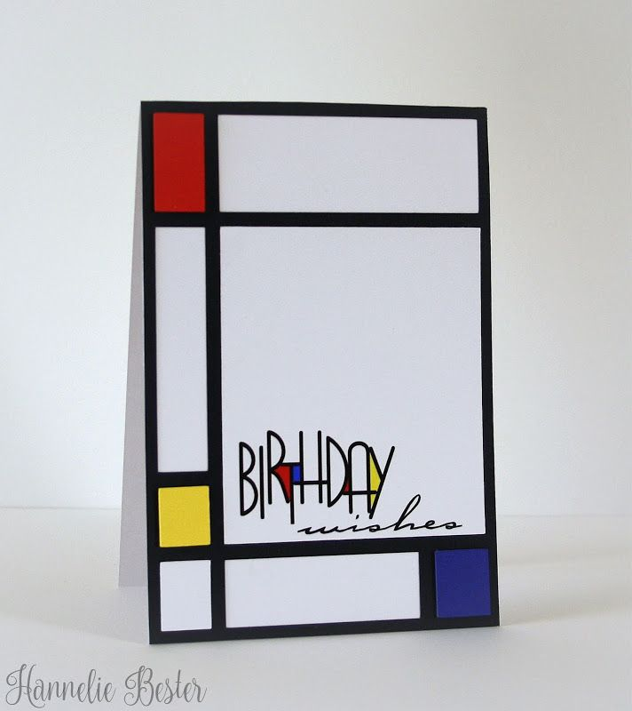 Mondrian inspired birthday card. And a free digi greeting too, thank you Hannelie x