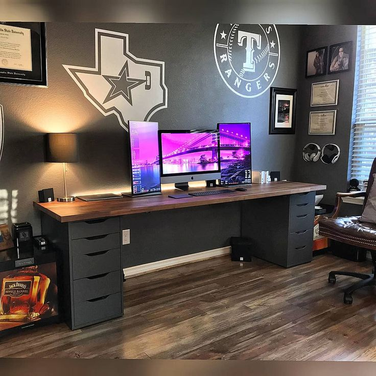 SLIDE TO SEE SPECS Beautiful gaming room I truly love that desk combo from IKEA (karlby countertop alex drawers) The cable management is outstanding a…