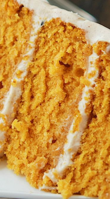 Pumpkin Cake with Cinnamon Cream Cheese Frosting ~ The BEST Pumpkin Cake Ever... It's a three layer cake of super moist pumpkin cake and a crazy delicious cinnamon cream cheese frosting - This cake is simple to put together and an easy enough recipe for even a beginner bake
