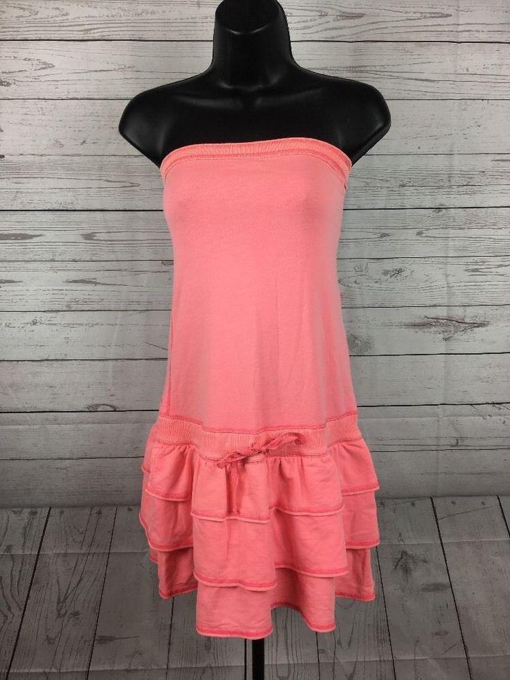 Victoria's Secret PINK Strapless Dress Size Medium M Bright Color Ruffles Tie #VictoriasSecret #Sundress #Casual
