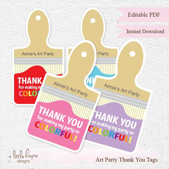 Editable Art Party Thank You Tags / Favor Tags / Instant Download / Paint Brush  INSTANT DOWNLOAD