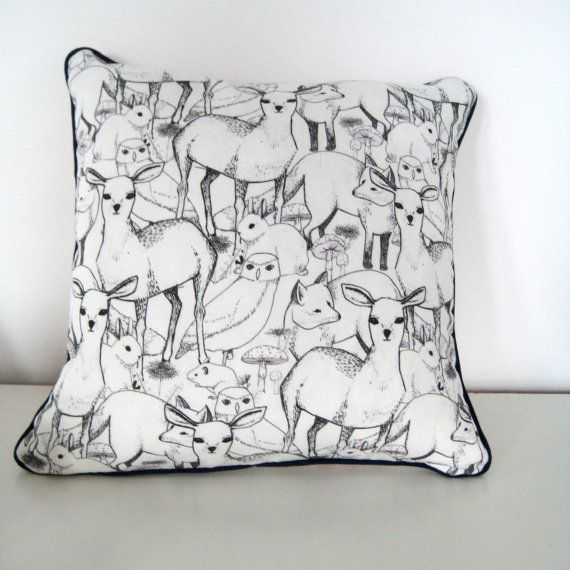 Woodland Print Linen Scatter Cushion by León+Coco