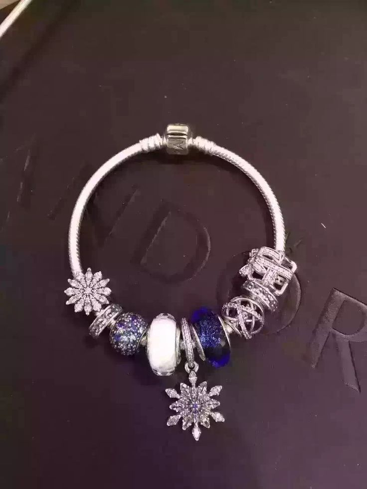 50% OFF!!! $239 Pandora Charm Bracelet Blue White. Hot Sale!!! SKU: CB01984 - PANDORA Bracelet Ideas