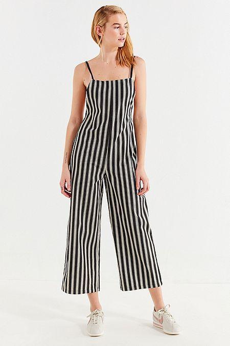 91b7c3781fd UO Square-Neck Striped Jumpsuit