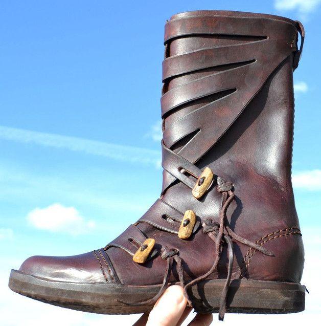 Warjag, Wikinger Lederschuhe – braun Stiefel Schuhe