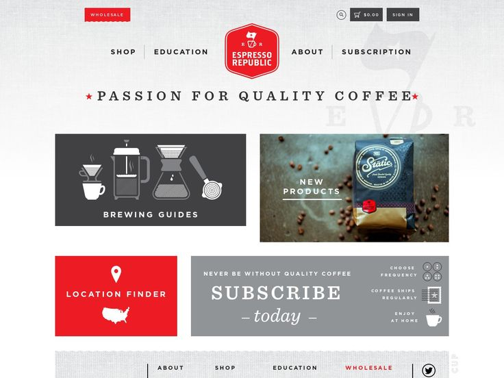 Espresso Republic, coffee subscriptions and wholesale website.