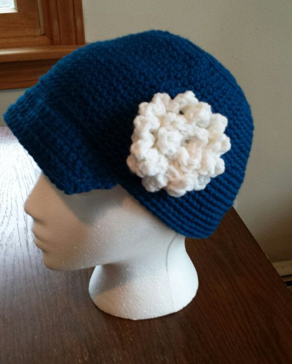 Women's visor beanie color choice with flower or without crochet handmade