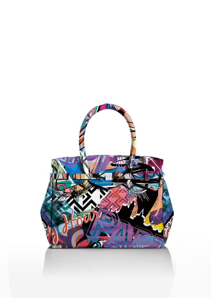 This iconic tote is available in over 30 colours to suit every style!   Light and versatile, the Miss bag is our collection's best seller. The covetable tote comes with a bow and interchangeable strap to make the bag customisable.  Size  340 x 290 x 180 mm  380g  Made in Italy  Vegan Friendly  Made from Poly-Lycra Fabric   Graffiti