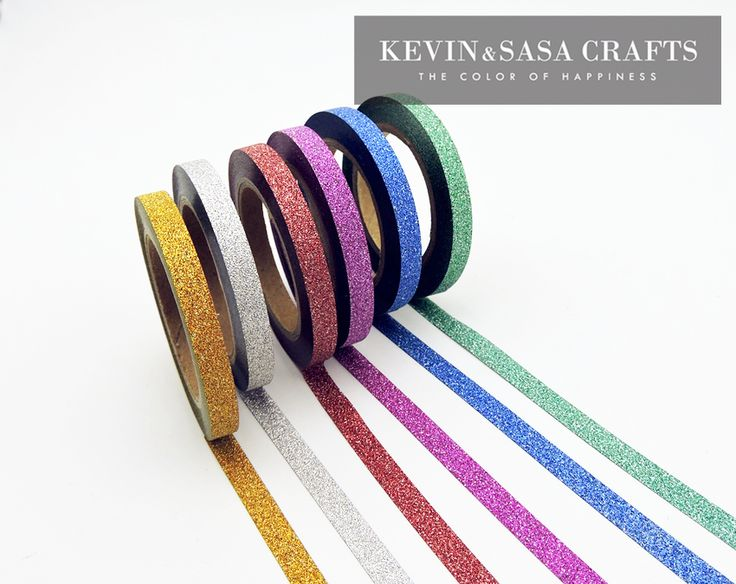6Pcs/Sell Washi Tape Glitter Color Japanese Stationery 0.5*6.5meter Kawaii Paper Scrapbooking School Tools Decorative Tapes Mask