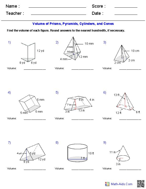Prisms, Pyramids, Cylinders & Cones Volume Worksheets | Math-Aids.Com ...