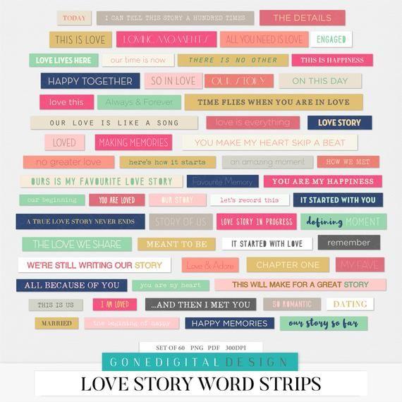 Love Digital Word Strips Word Sticker Scrapbook Printable Sheet Love Story Valentine Card Sentiments Word Captions Conversation Starters Digital Word Scrapbook Stickers Scrapbook Stickers Printable