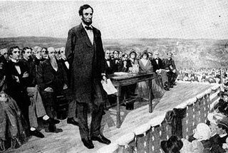 Discurso de Gettysburg, de Abraham Lincoln, um dos mais famosos e importantes da história ocidental. http://discursostranscritos.blogspot.com/