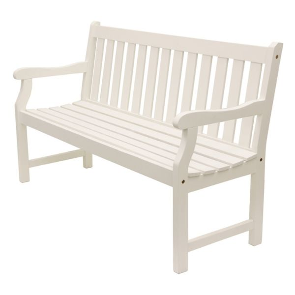 White Hudson Slatted 3 Seat Outdoor Bench Kirklands Wooden Garden Benches White Patio Furniture Outdoor Bench