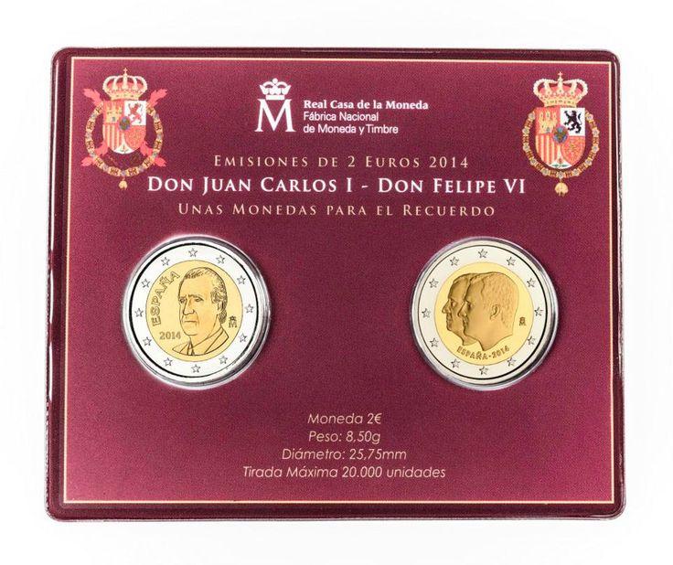 Moneda para el recuerdo y un buen regalo para Navidad. Nuevas emisiones a partir del 10 de diciembre. Cartera con las dos monedas de 2 €, la perteneciente a la básica del Rey D. Juan Carlos I del 2014 y la conmemorativa con el Rey D. Felipe VI y D. Juan Carlos I en www.suarezfilatelia.com