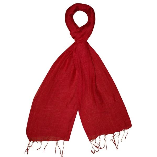 Linen & Silk Scarf - Red