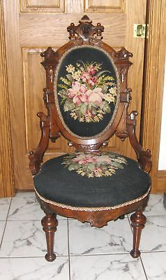 """Carved John Jeliff Walnut """"Hers"""" Chair With Upholstered Back And Seat In Needlepoint"""