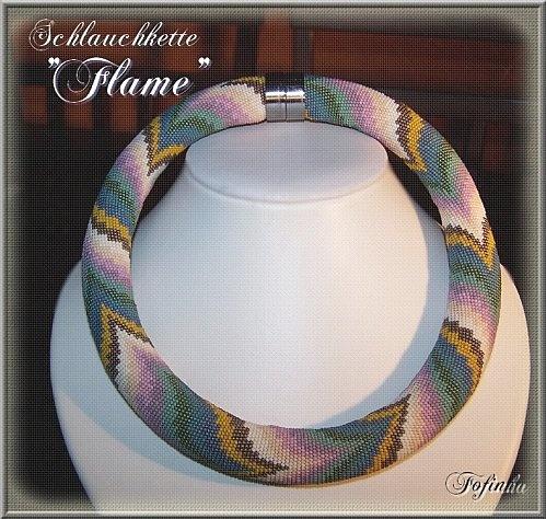 """Fofinha.  42 beads around, custom made closure. """"Flame 3"""""""