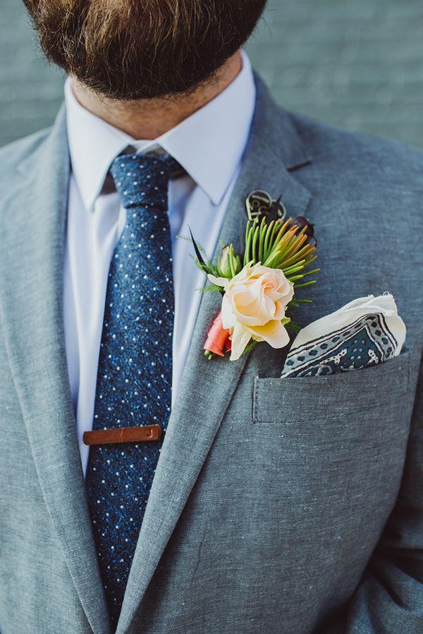 boutonnieres - photos by Shannon Roddy and Elena Mudd for Amber Gress Photography http://ruffledblog.com/stylish-greenpoint-loft-wedding