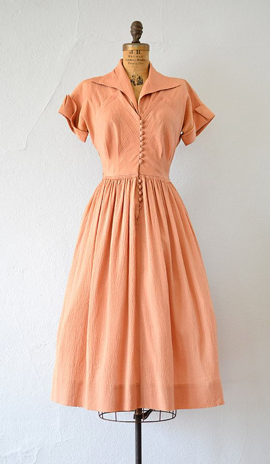 The Real And The Inspired By 1940s Fashion: Vintage Late 1940s Early 1950s Dark Peach Silk Dress