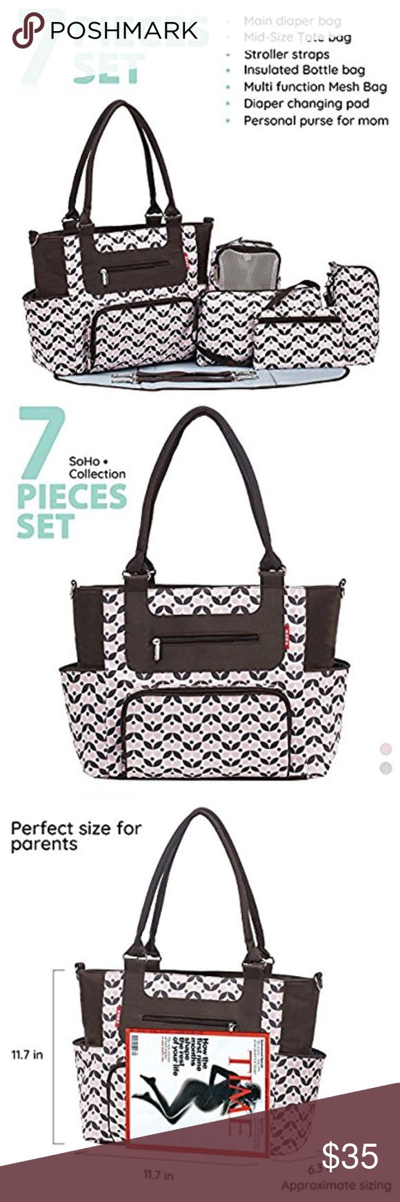 NEW DIAPER BAG FITS TONS OF DIAPERS 7 piece Many pieces and brand new. Tons of pockets everywhere. Easy to keep clean. Not noisy. Stroller straps sold. Super handy bags and a flat surface to change diaper station . Ships fast! :) 5 star seller! Accessories Bags