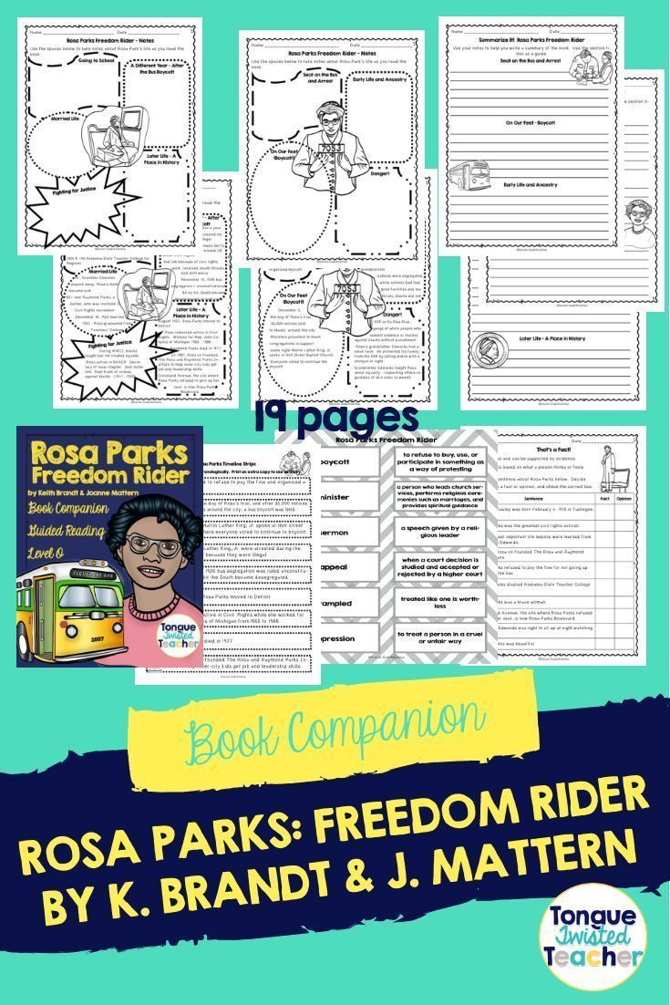 Rosa Parks Freedom Rider By Keith Brandt Joanne Mattern Book Companion Guided Reading Lesson Plans Reading Lesson Plans Freedom Riders