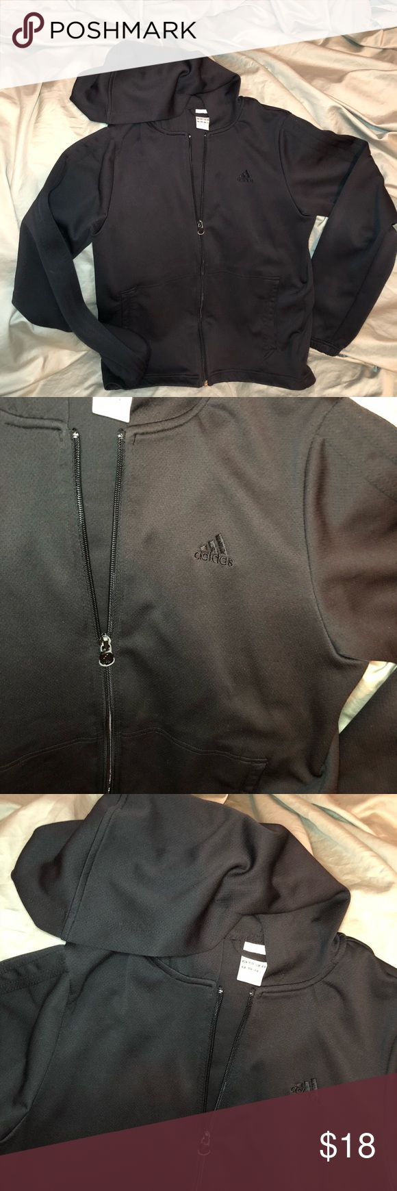 Adidas Zip Up Hoodie All black Adidas zip up hoodie. Please see photo for zipper pull imperfections. adidas Jackets & Coats