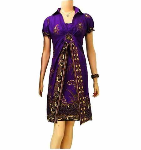 dress batik ungu modern BD11 di katalog toko online http://sekarbatik.com/dress-batik/