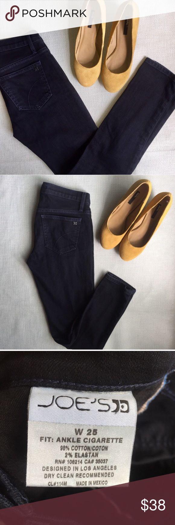 "Joe's Jeans Cigarette Ankle Fit - 25 Very dark blue wash, ALMOST black but not quite. Excellent condition. 25w tag size. MEASUREMENTS: 28"" waist 8"" front rise 33"" hip 27.25"" inseam Joe's Jeans Jeans Ankle & Cropped"
