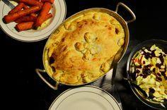 Kyllingepie med champignon, bacon og porrer!