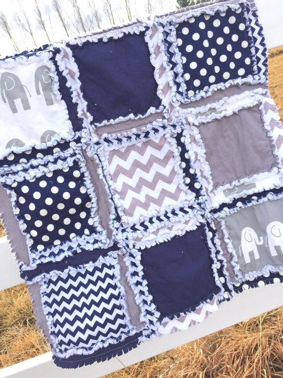 A Rag Quilt In Elephant Chevron And Polka Dot Patterns