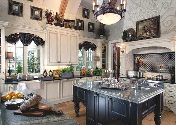 So elegant...love the black island | Timeless Traditional Kitchen Designs