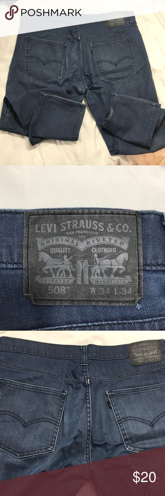 Men's Levi 508 Jeans Blue Levi's 34x34 Selling a pair of men's used to Levi jeans size 34 x 34. Good condition with light fading around some small areas. Can't even tell what looks like part of the jeans Design. Please see photos of her bedding. Levi's Jeans