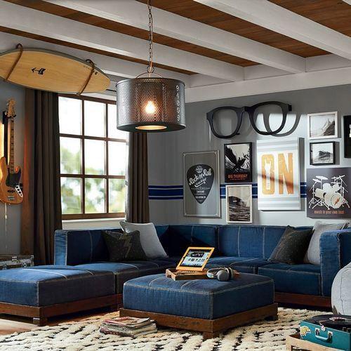 Современная мебель с обивкой из джинсовой ткани