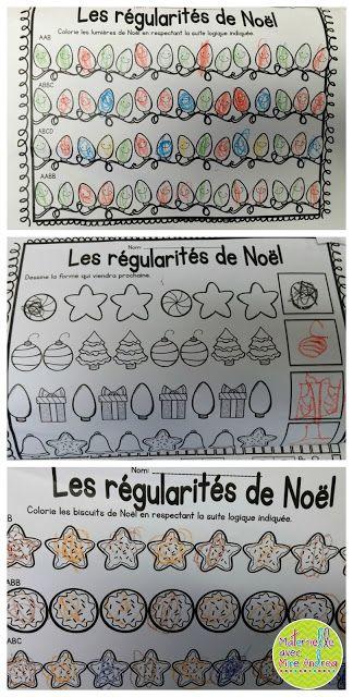 Les feuilles de mathématiques pour les élèves en maternelle (thème de Noël)