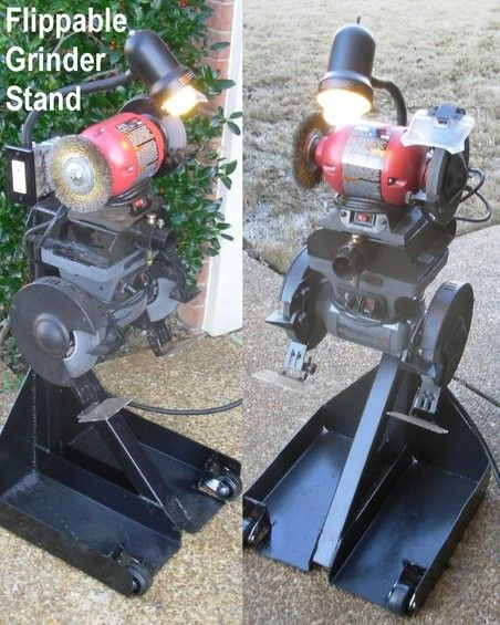 Bench Grinder Stand by Steve83 -- Homemade bench grinder stand intended to accommodate two grinders. Fabricated from channel steel, 14-gauge plates, and square tubing. http://www.homemadetools.net/homemade-bench-grinder-stand-2