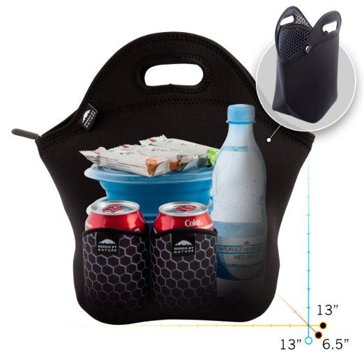 Amazon.com: Insulated Neoprene Lunch Set: Lunch Bag + Water Bottle Sleeve + 2 Can Coolers   Lightweight With Rugged Zipper & Space for XL Lunches   Washable, Nontoxic, Black with Metal Interior   Nordic by Nature: Kitchen & Dining