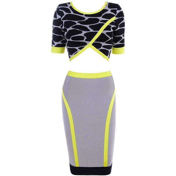 Clothing : Bandage Dresses : Khaya Black Grey and Neon Green Bandage... ❤ liked on Polyvore featuring dresses, little mix, jade thirlwall, robe, vestidos, neon green dress, 2 piece bandage dress, 2-piece dresses, grey dress and gray bandage dress
