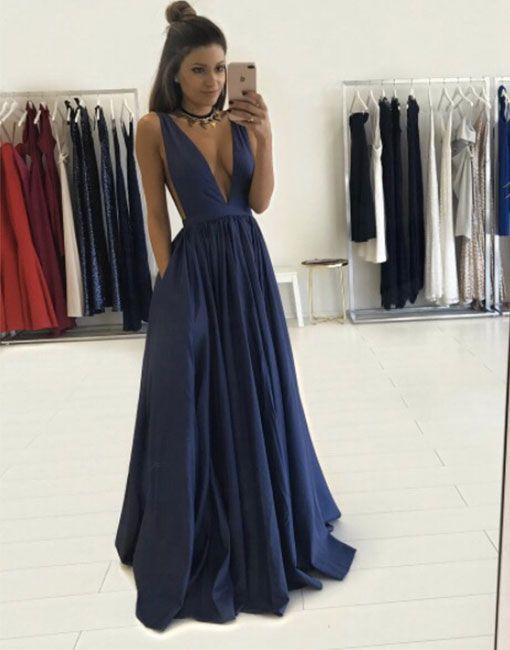 Simple v neck long prom dress, blue evening dress