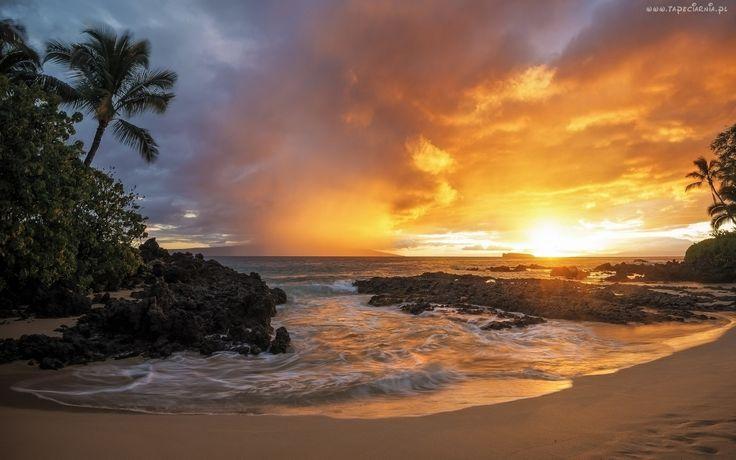 Wybrzeże, Zachód Słońca, Morze, Plaża