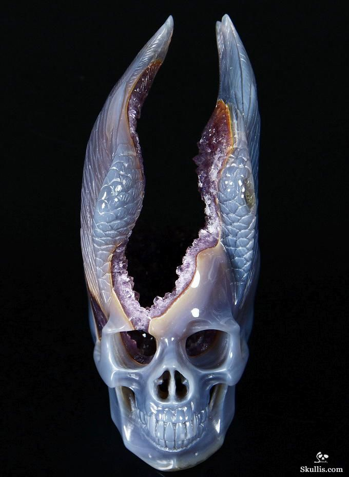 Agate Amethyst Geode Crystal Skull with Wings Sculpture